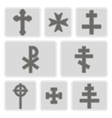 monochrome icons with different crosses vector image vector image