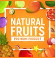 natural fresh tropic fruits cartoon poster vector image vector image