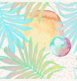 palm leaf in line art style with water color vector image