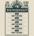 poster for music pub restaurant with live music vector image vector image