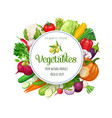 round banner with vegetables vector image vector image
