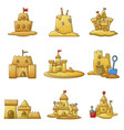 sandcastle beach icons set cartoon style vector image