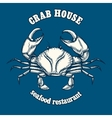 Seafood restaurant logo template with crab vector image
