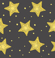 seamless pattern with hand-drawn stars five vector image vector image