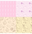 seamless patterns with sweets vector image vector image