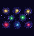 set of multicolored sparkling fireworks vector image vector image