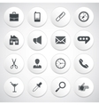 Set of white round buttons with pictograms vector image vector image