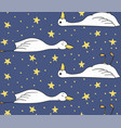 sleepy duck pattern with duck and stars vector image