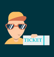 tickets flat isometric concept young man take big vector image vector image