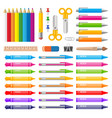 variety of color pens pencils markers and crayons vector image