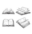 vintage hand drawn sketch set books retro black vector image