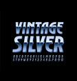 vintage silver 3d font metallic elegant al vector image