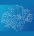 wheeled tractor tracing of 3d vector image vector image