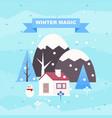 winter landscape background with cottage vector image