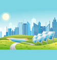 solar power panels with sun vector image