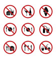 food and drink prohibition sign icons set vector image