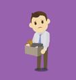 dismissed businessman holding box vector image