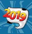 2019 happy new year christmas comic text speech vector image vector image