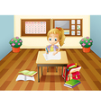 A girl at the desk vector image