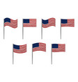 american flag set on white vector image