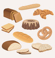 bakery products shop icons set wheat and vector image