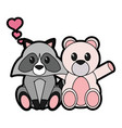 bear and raccoon cartoon vector image vector image