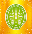Beer label on beer background with drops vector image vector image
