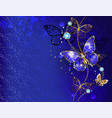blue background with sapphire butterfly vector image vector image