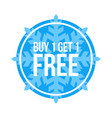 buy one get one free sign numbers circular winter vector image vector image