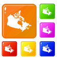 canada map icons set color vector image vector image