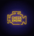 check engine neon sign bright signboard vector image