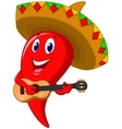 Chili pepper mariachi cartoon wearing sombrero pla vector image vector image