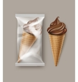 Chocolate Soft Ice Cream Waffle Cone and Foil vector image