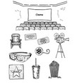 cinema set ink hand drawn vector image