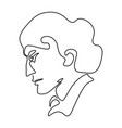 continuous line sketch portrait man in profile vector image