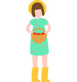 cute farm girl with yellow hat in rubber boots vector image vector image