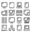 desktop and electronic device icons set line vector image