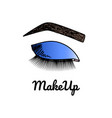 doodle with eye with blue eyeshadows vector image vector image