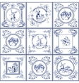 Famous delft blue tiles icons collection vector image vector image