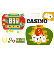 flat casino colorful composition vector image vector image