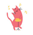 funny cat playing the drums vector image vector image