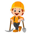 funny miners cartoon vector image vector image