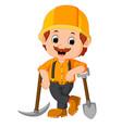 funny miners cartoon vector image vector image