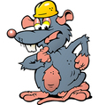 Hand-drawn of an wondering Rat with helmet vector image vector image