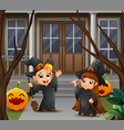 happy witch couple standing in front of the house vector image