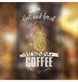 Hot fresh coffee showcase mockup vector image