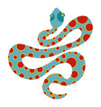 light blue snake with orange spots icon isolated vector image vector image