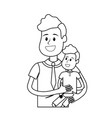 line nice father carrying his son in the hands vector image vector image