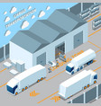 logistic electric vehicles isometric composition vector image vector image