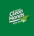 logo clean hands gel antiseptic aloe vera vector image vector image